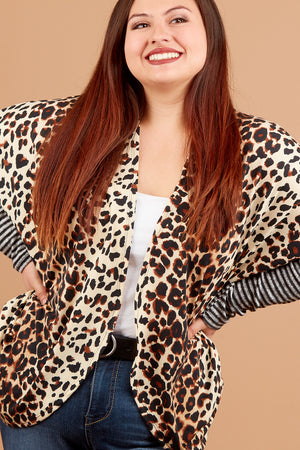 Plus Animal Stripe Sleeve Cardigan