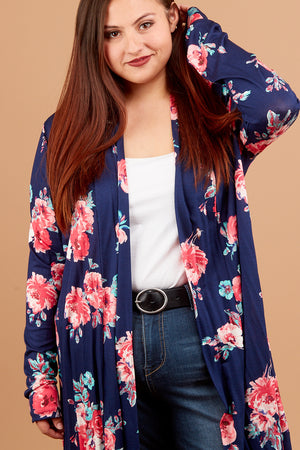 Plus Navy Floral Cardigan