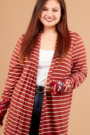 Plus Rust Stripe Floral Cardigan