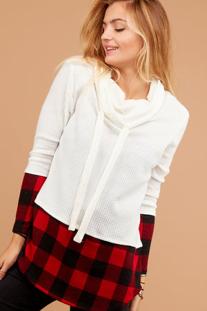 Ivory & Red Thermal Plaid Cowl Sweater