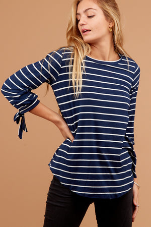 Navy Stripe Tie Sleeve Blouse