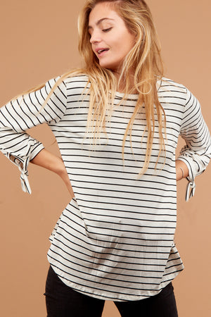 Ivory Stripe Tie Sleeve Blouse