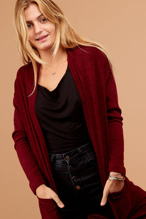 Burgundy Pocketed Cardigan