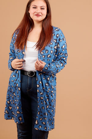 Plus Blue Animal Cardigan