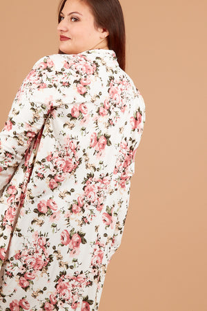 Plus Ivory Floral Cardigan