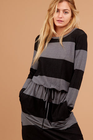Charcoal Stripe Pocketed Dress
