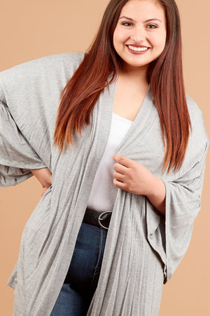 Plus Heather Grey Bell Sleeve Kimono