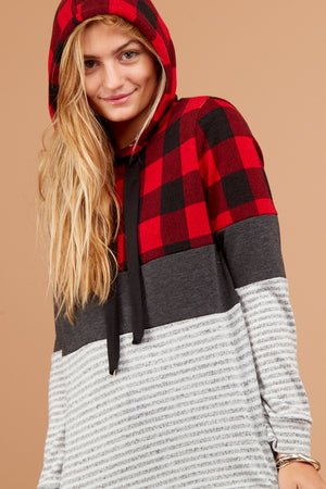 Plaid Stripe Color Block Hoodie