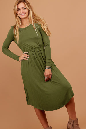 Olive Fit & Flare Dress