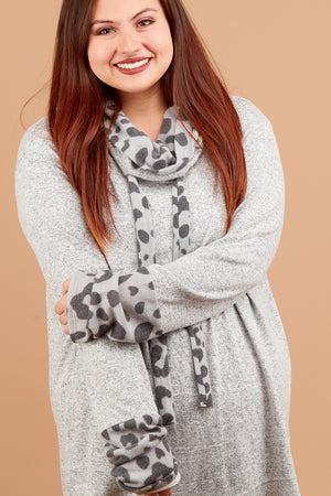 Plus Grey 2-Tone Animal Cowl Sweater