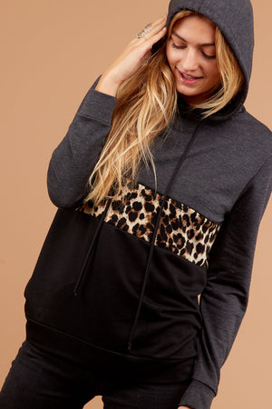 Charcoal Animal Color Block Hoodie