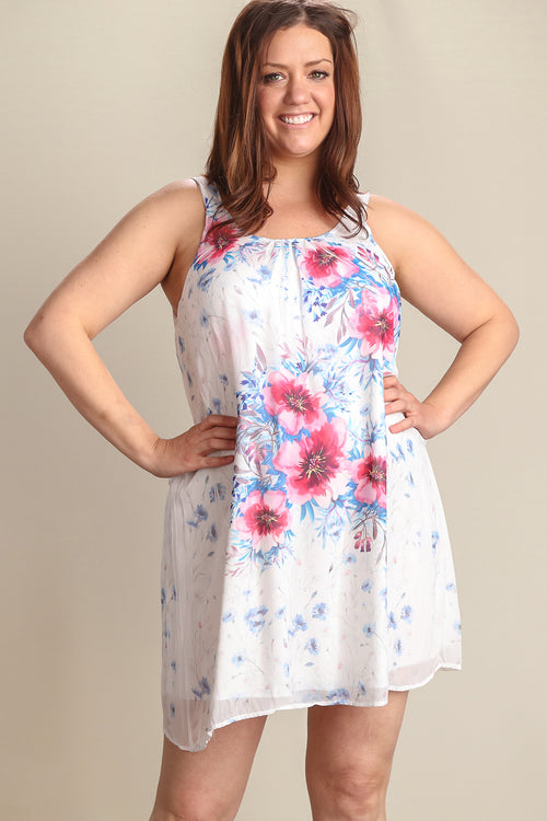 Plus Ivory Floral Inner Lined Dress