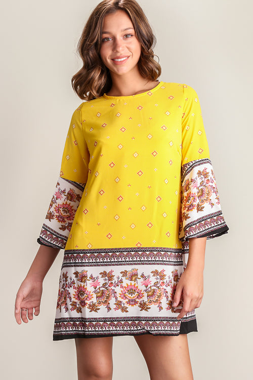 Yellow Printed Key Hole Dress