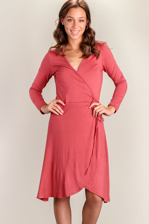 Off Rust Surplice Dress