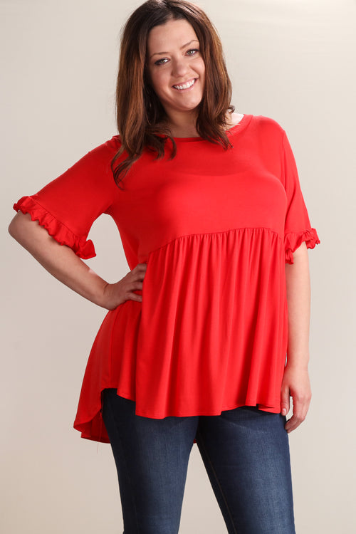 Plus Red BabyDoll Bell Sleeve Tunic