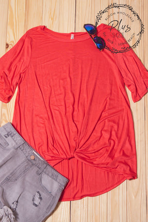 Plus Coral Twist Hem Blouse