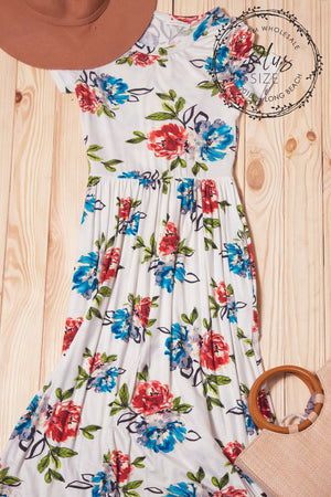 Plus Ivory Floral Pocketed Maxi Dress