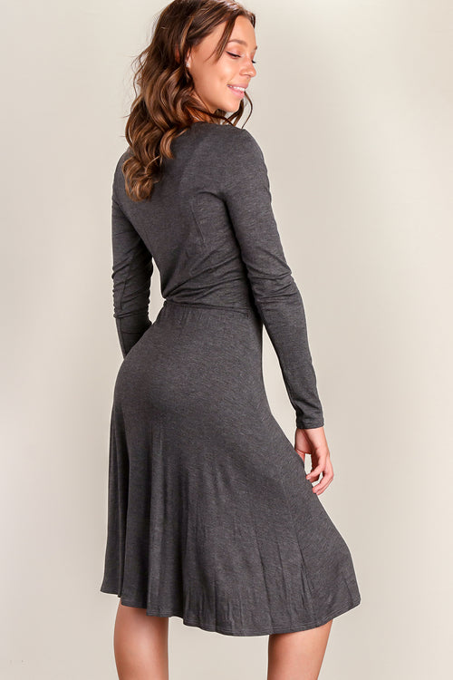 Charcoal Surplice Dress