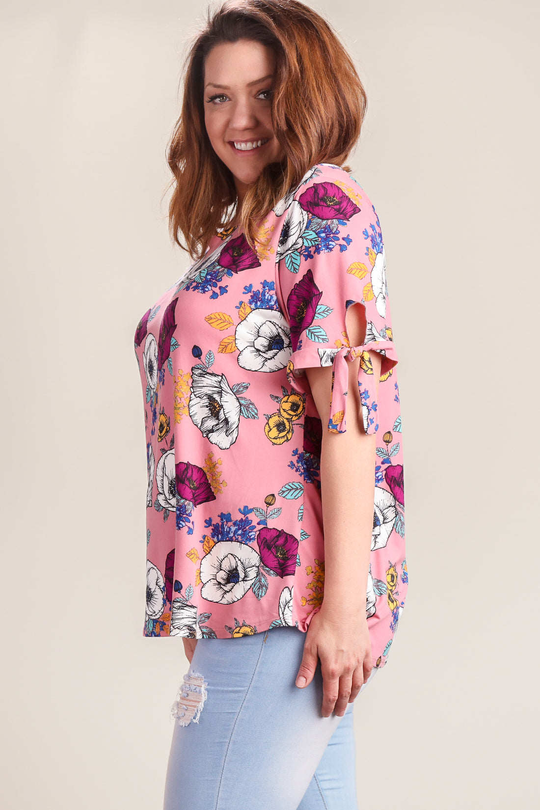 Plus Mauve Floral Printed Tie Sleeve Blouse