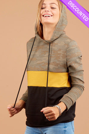 Thermal Camo Mustard Colorblock Hoodie