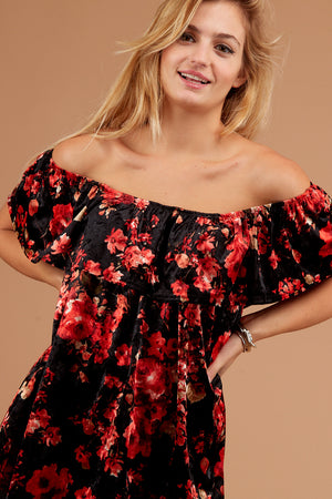 Black Floral Off Shoulder Velvet Blouse