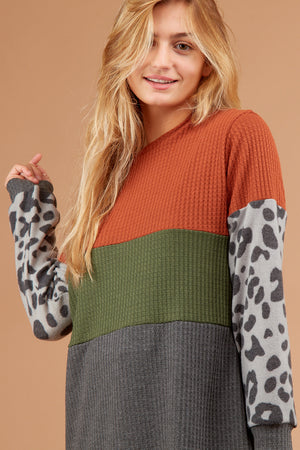 Thermal Color Block Animal Sleeve Sweater