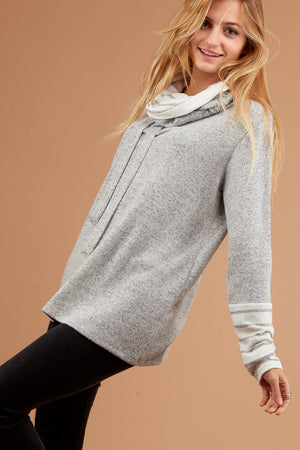 Plus Grey Stripe Cowl Sweater