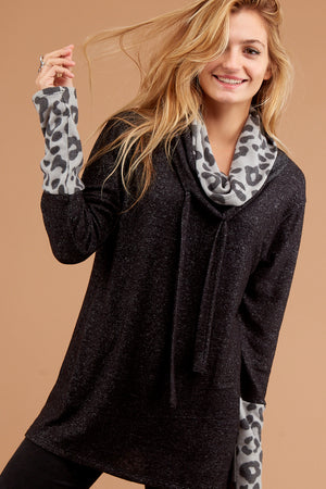 Charcoal Grey Animal Print Cowl Sweater