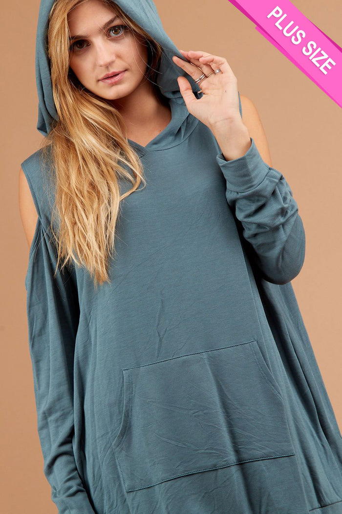 Plus Blue Cold Shoulder Hoodie