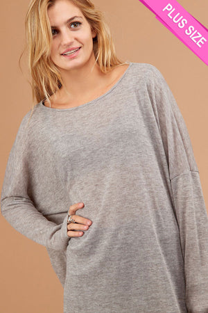 Plus Grey Marled Blouse