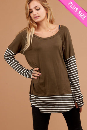 Plus Olive Stripe Thumb Hole Blouse