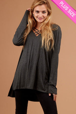 Plus Charcoal Grey Design Blouse