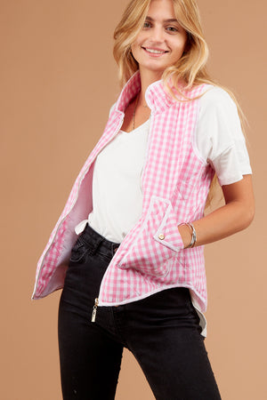 Pink Plaid Sleeveless Vest