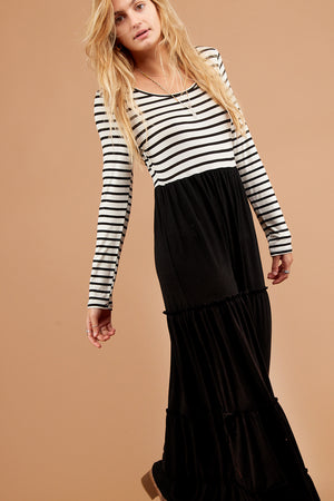 Black & Ivory Stripe Tiered Maxi Dress