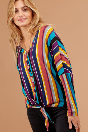 Plus Blue Stripe Button Down Blouse