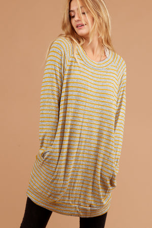 Plus Mustard Stripe Tunic Pocketed Sweater