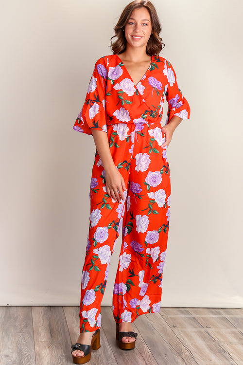 Tomato Red Floral Bell Sleeve Jump Suit