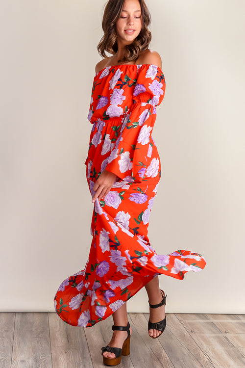 Tomato Red Floral Off Shoulder Lined Maxi Dress