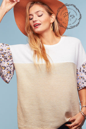 Plus Thermal Color Block Animal Sleeve Blouse