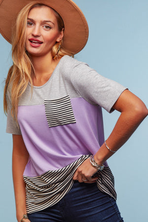 Lilac & Stripe Color Block Blouse