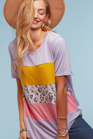 Lavender Animal Color Block Blouse