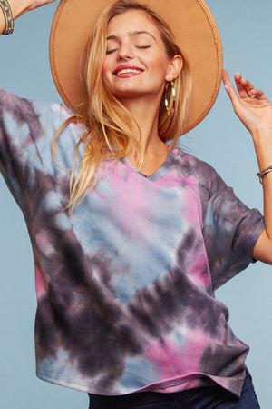 Black & Purple Tie Dye Blouse
