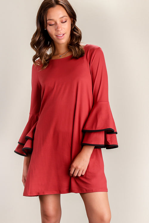 Rust Double Binding Bell Sleeve Dress