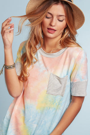 Multi Tie Dye Pocket Blouse