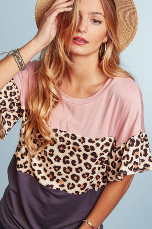 Blush Animal Color Block Blouse