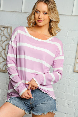 Plus Lilac Stripe Blouse