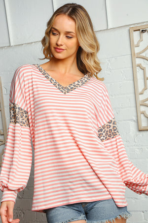 Blush Stripe Animal Design Blouse