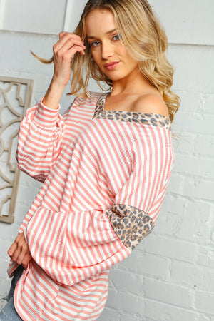 Plus Blush Stripe Animal Design Blouse