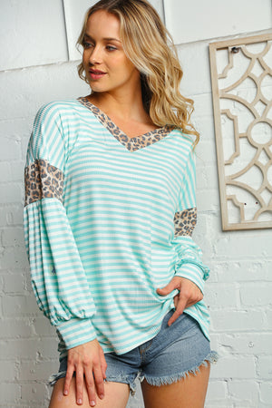 Plus Mint Ivory & Taupe Stripe Animal Print Design Blouse
