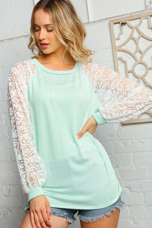 Plus Mint & Off Ivory Round Neck Lace Bubble Sleeve Raglan Blouse